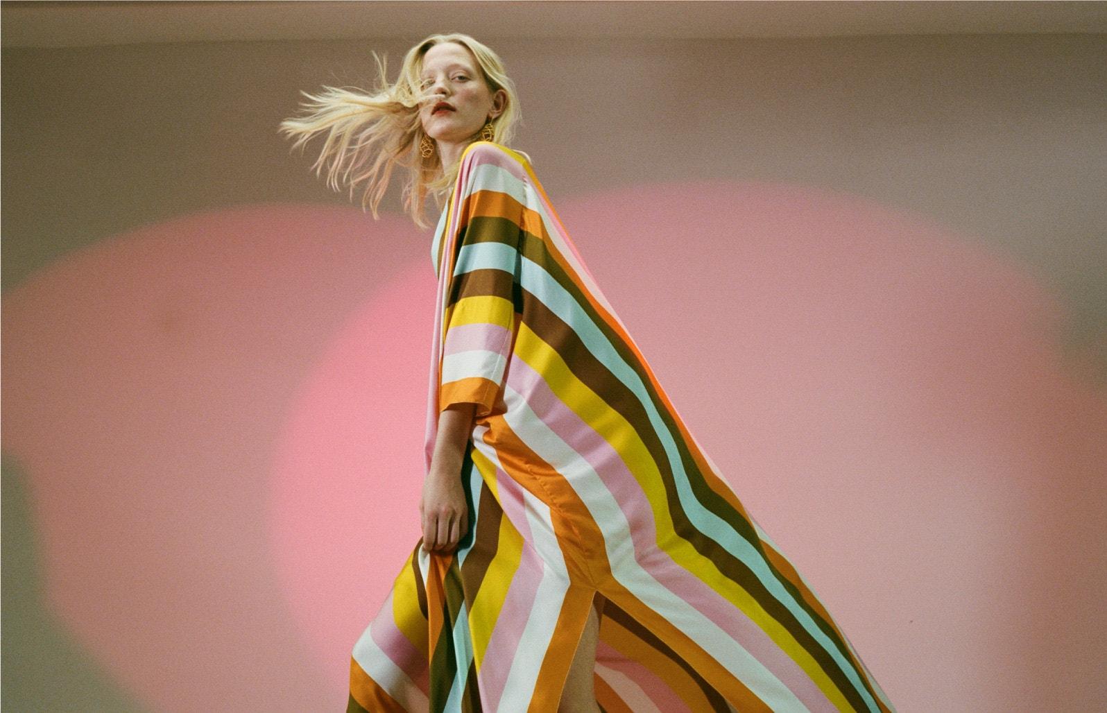 striped multicolor caftan dress