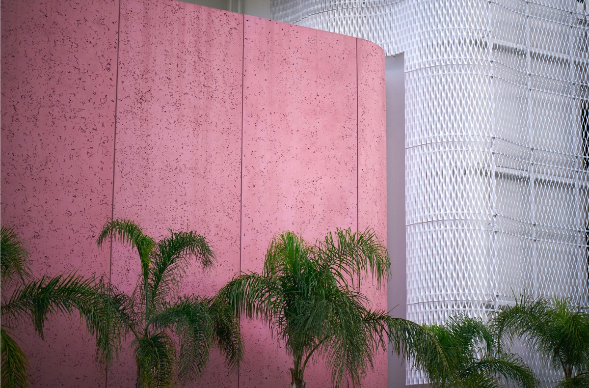 the webster signature pink concrete facade