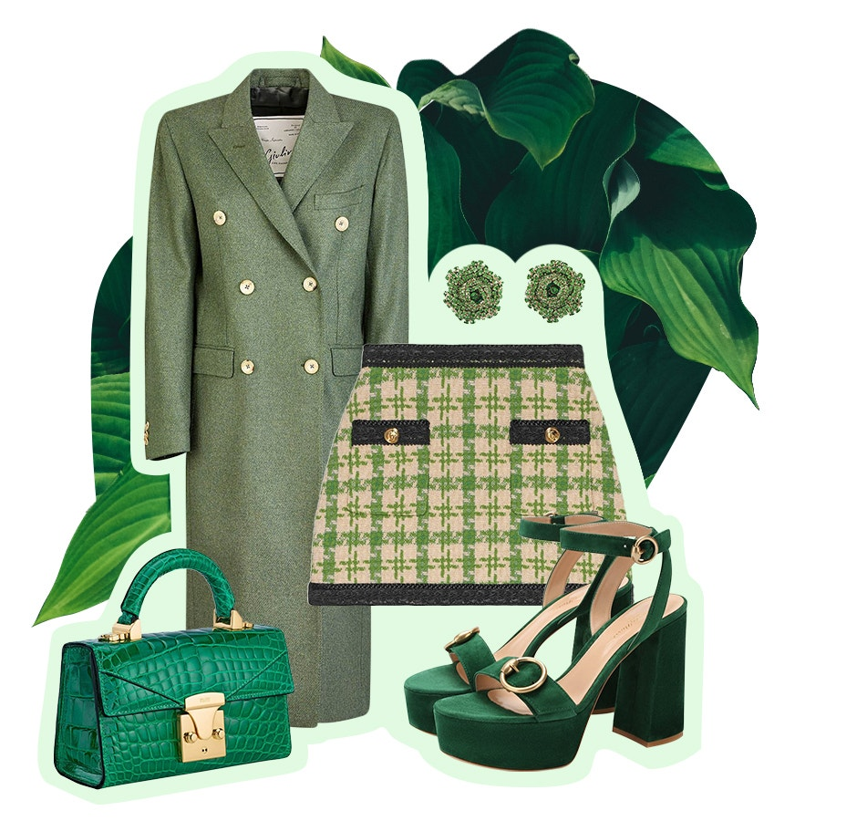 green accessories from gucci, stalvey, and gianvito rossi