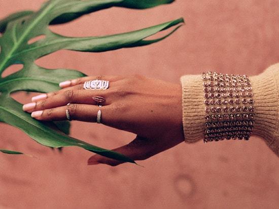 model wearing fine jewelry from the webster