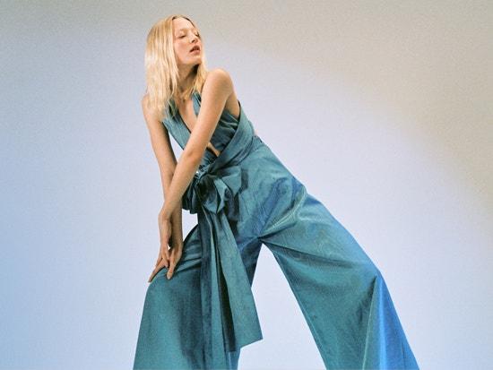 blue moiré faile wide-leg jumpsuit