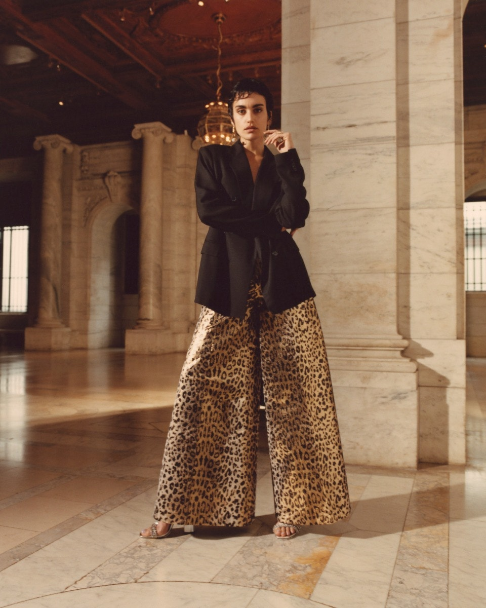 Valentino Double Breasted Silk Jacket,  Sara Battaglia Leopard Palazzo Pants