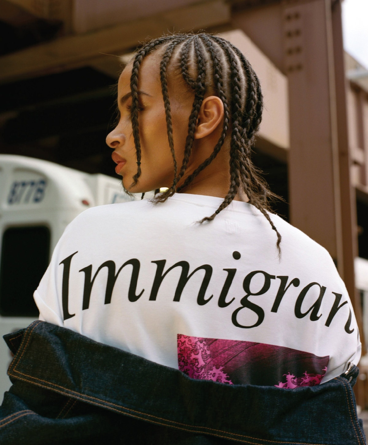 FENTY Oversized Denim Jacket – Immigrant Printed T-Shirt – Denim Corset Skirt – Spiraling Sandals 115 in Coco White