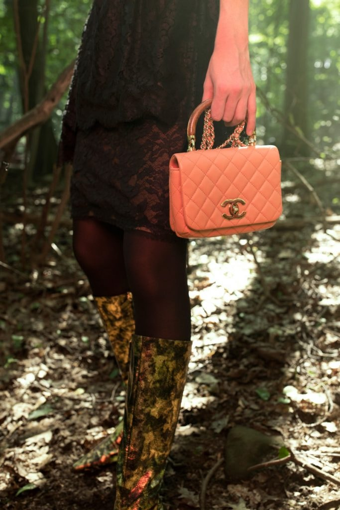 CHANEL Knock On Wood Bag, CHANEL Lace Dress, CHANEL Golden Forest High Boots