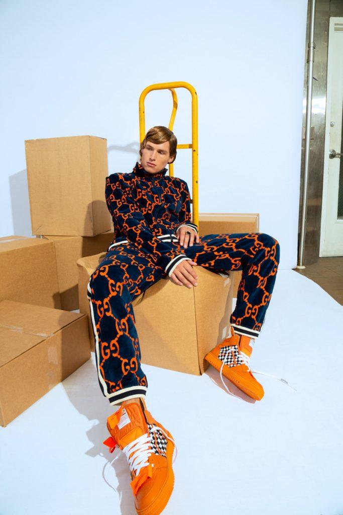 GUCCI GG Chenille Jogging Pants, GUCCI GG Chenille Track Jacket, BALENCIAGA Ring, OFF-WHITE Orange Low 3.0 Sneakers
