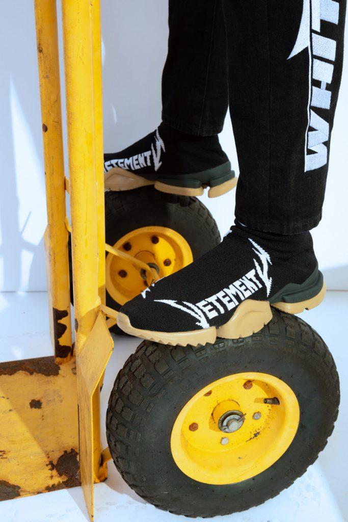 VETEMENTS Metal Sock Sneaker, OFF-WHITE Bernini Print Hoodie T-Shirt, OFF-WHITE Low Crotch Jeans